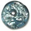 Glass Lamp Bead 26x26mm Ring Montana/Silver Foil